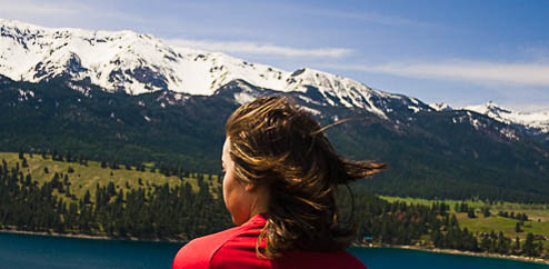 Teen staring at Wallowa Lake