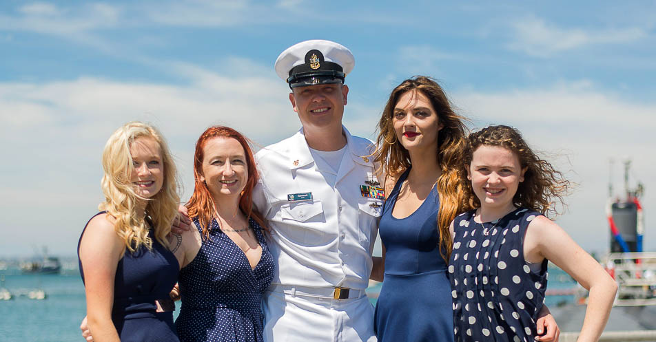 sailor with his family