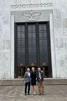 Nic Powers, Ted Thorne, and Chantay Jett in front of the State Senate Building